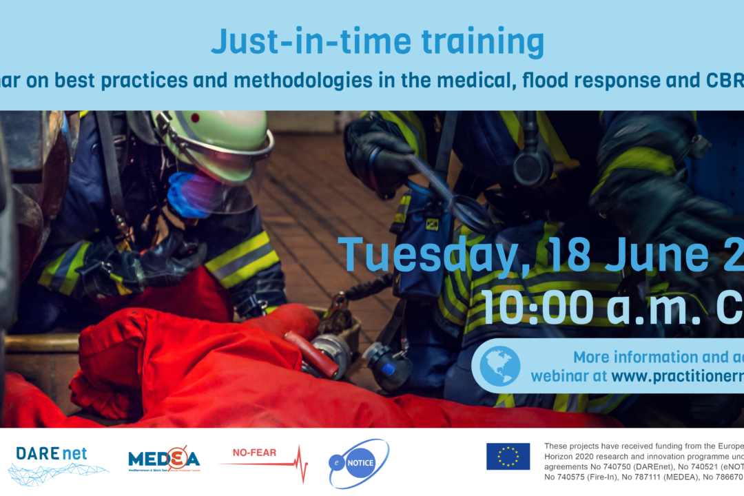 Joint webinar: Just-in-time training – best practices and methodologies in the medical, flood response and CBRN fields